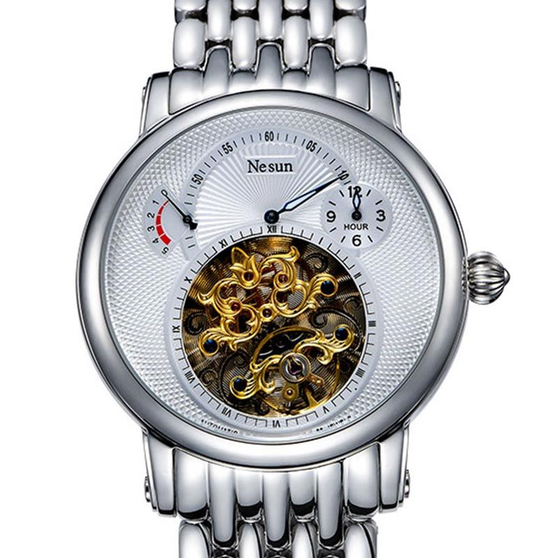 Switzerland Luxury Brand Nesun Hollow Tourbillon Watch Men Automatic Mechanical Men's Watches Sapphire Waterproof clock N9081-2