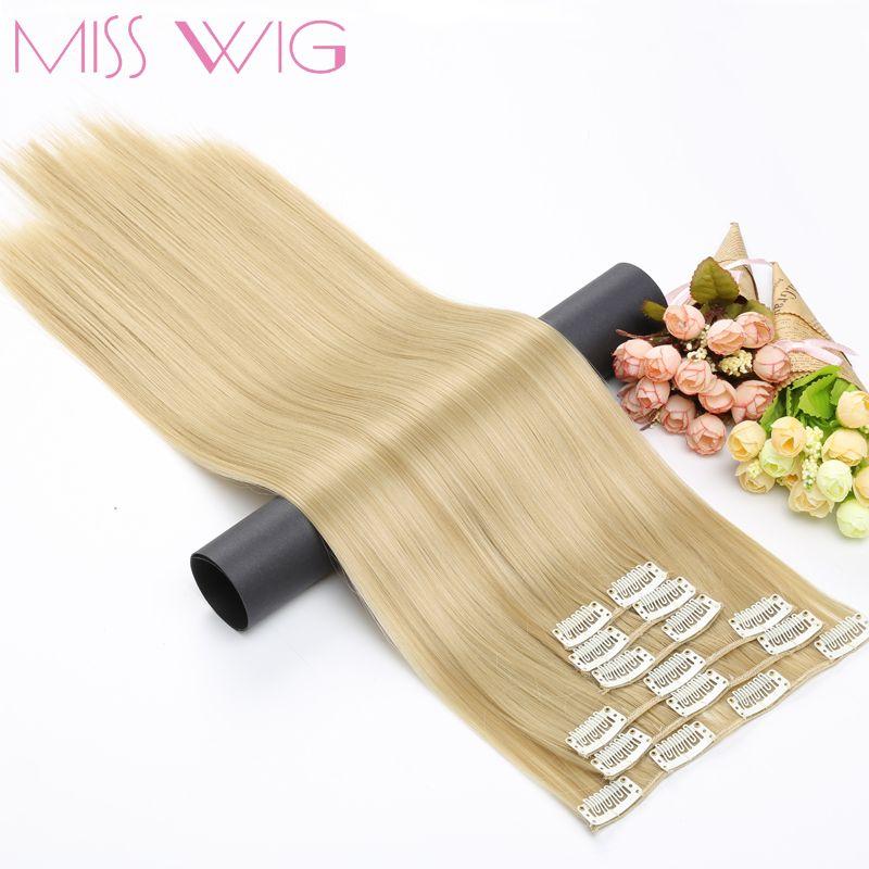 MLLE PERRUQUE 15 Couleurs Disponibles 24 Cm 16 Clips dans les Extensions de Cheveux Droite Coiffure Synthétique Postiches 140g Faux Cheveux