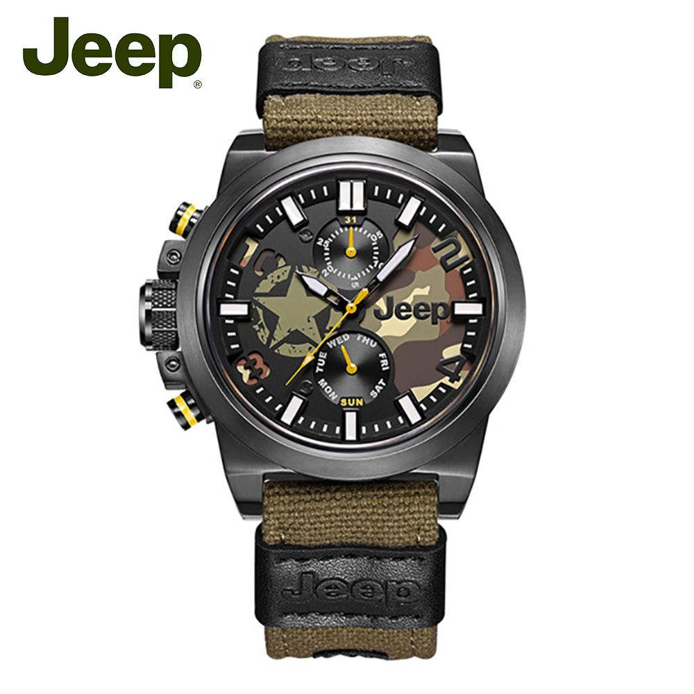 Jeep Original Mens Watches Quartz Canvas Strap Military Camouflage Stainless Steel 50M Waterproof Sport Luxury Watches JPW63803