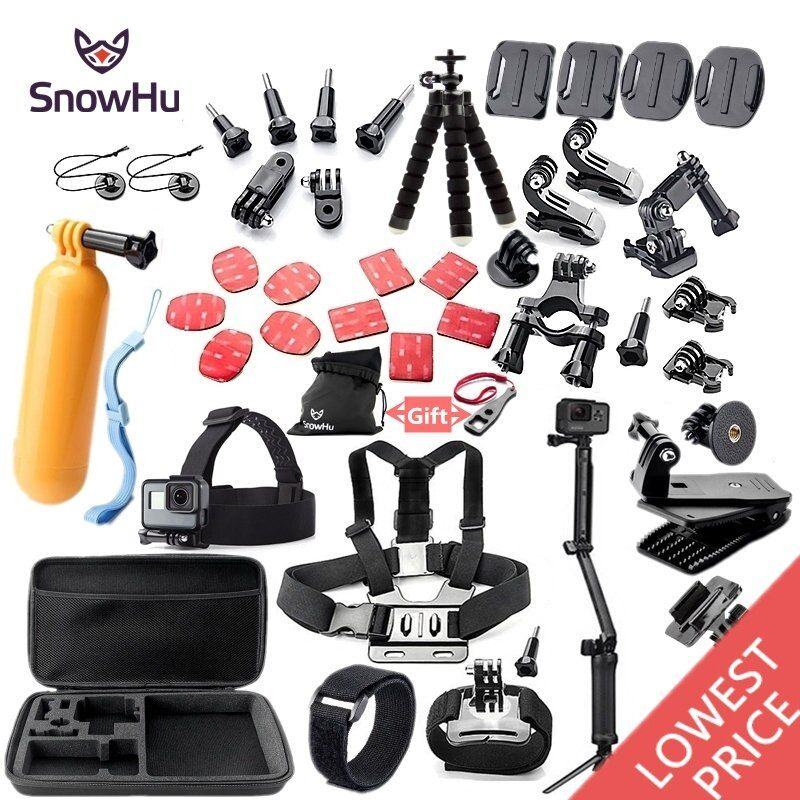 SnowHu For Gopro accessories set mount <font><b>tripod</b></font> for go pro hero 7 6 5 4 3 sjcam sj4000 for xiomi kit for xiaomi yi 4K+ camera GS52