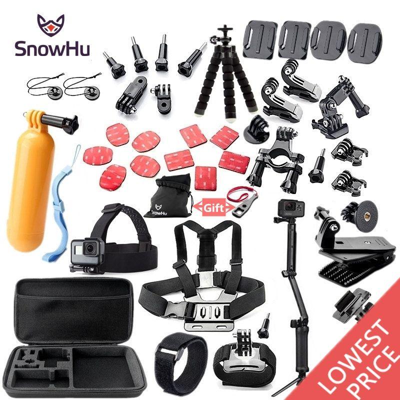 SnowHu For Gopro accessories set mount tripod for go pro hero 6 5 4 3 sjcam sj4000 for xiomi kit for xiaomi yi 4K+ camera GS52