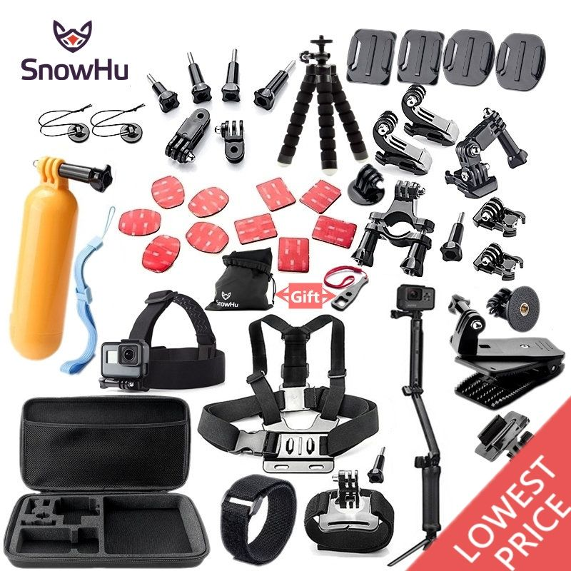 SnowHu For Gopro accessories set mount tripod for go pro hero 6 5 4 3 sjcam sj4000 for xiomi kit for xiaomi yi 4K+ camera GS52