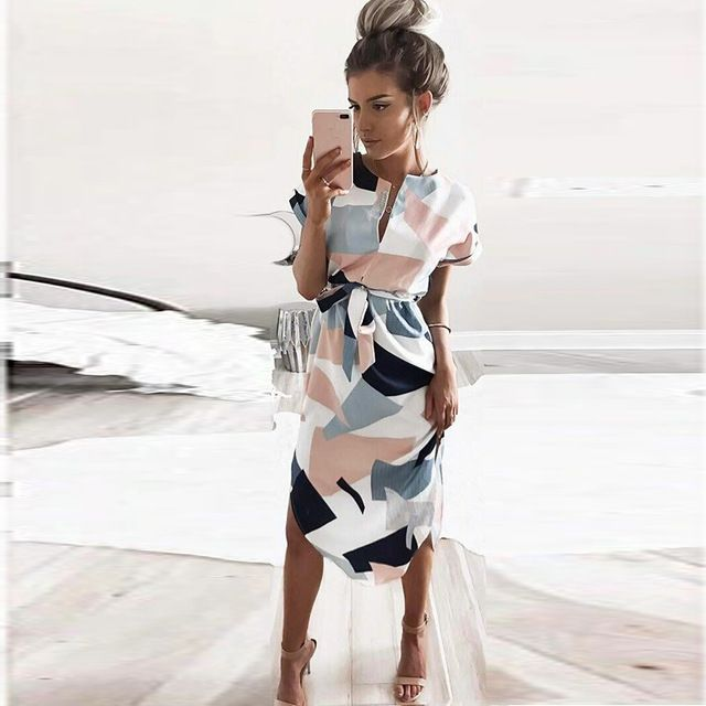<font><b>2018</b></font> Summer Dress Lady beach out female V neck Maxi Geometric Output Beach Dress Women's Retro dress With Belt Vestidos