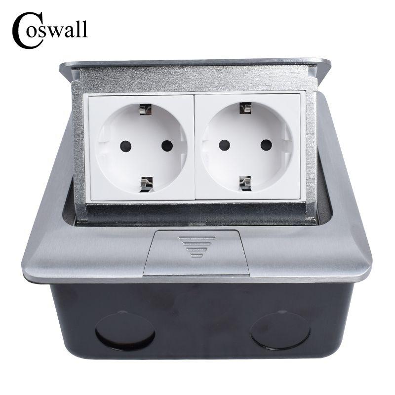 Coswall Todas Aluminio Pop-Up Piso Zócalo Estándar de LA UE de 2 Vías Toma de Corriente Eléctrica Combinación Modular Personalizado Disponible