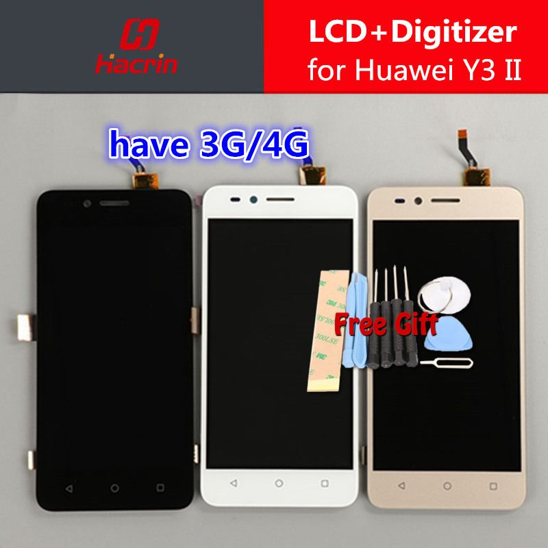 for Huawei Y3 II LCD Display + Touch screen Test Good Digitizer Assembly Replacement Accessories For Y3 2 Y3II 3G 4G Version