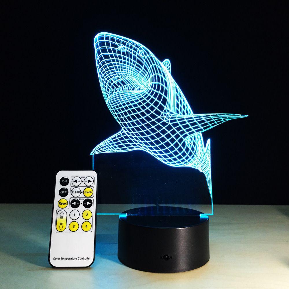 New 2017 3D Visual LED Lights <font><b>Shark</b></font> Lamp USB Touch Switch Small Night Light 7 Color Gradient Souvenir Acrylic Corridor Lights