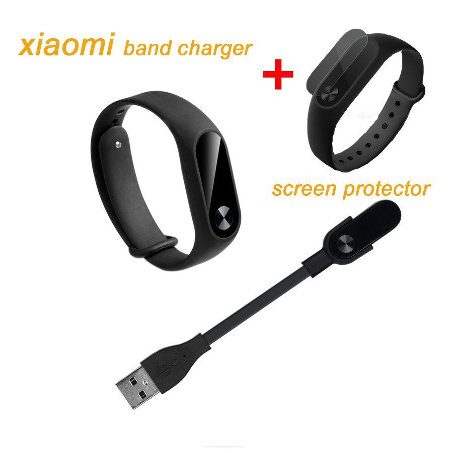Für xiaomi mi band 2 ersatz usb ladekabel + displayschutzfolie für xiaomi smartband 2 kostenloser versand