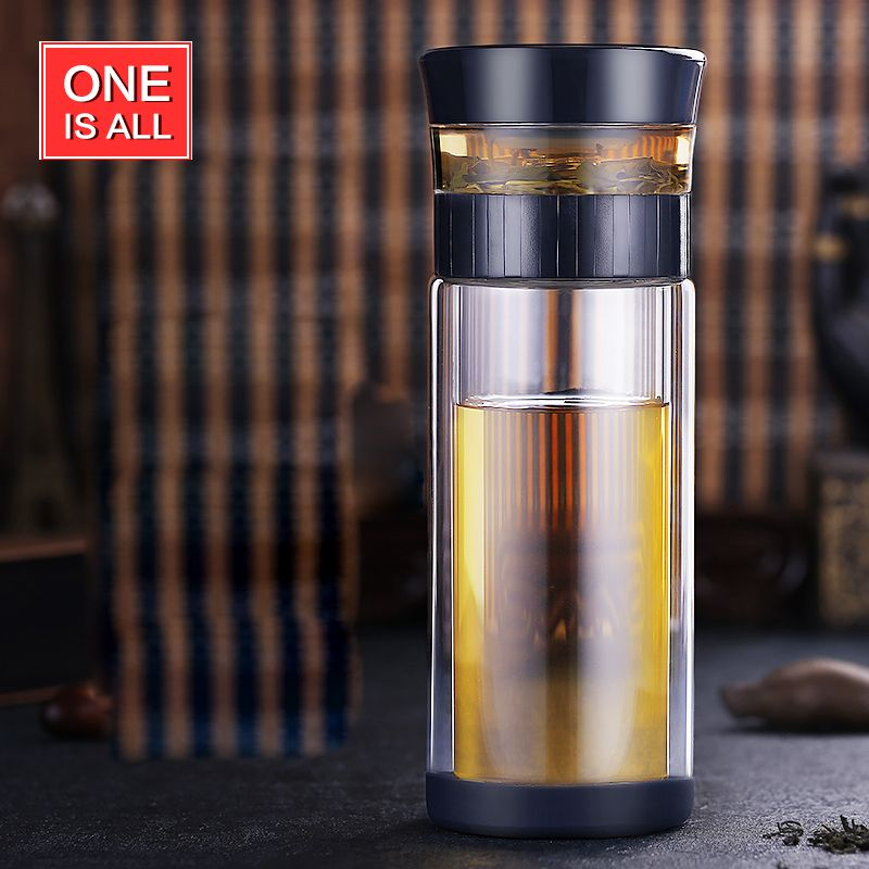 ONEISALL 300ML Double Wall Protect Glass Tea Cup Business Man Drinking Water Bottle with Tea Filter Portable Tea Drinkware