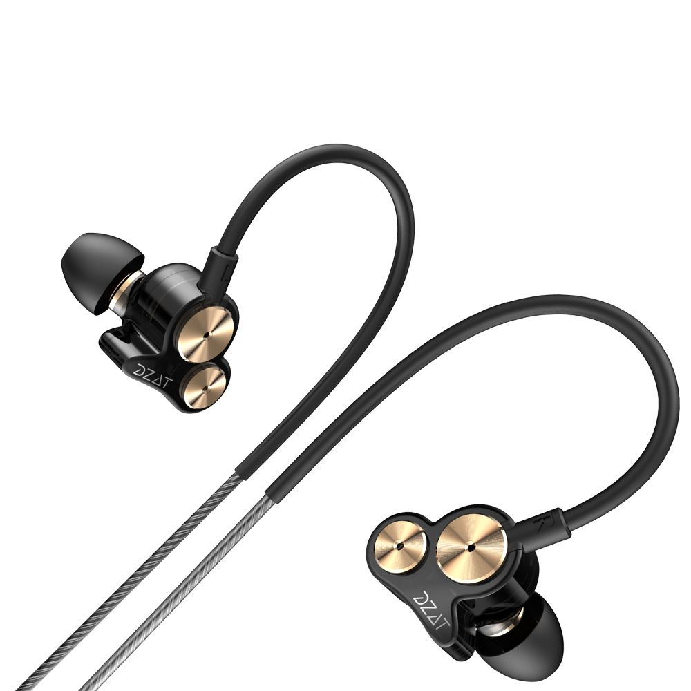 Dzat DT05 Dual Drivers HIFI In-ear Earphone Earbuds Universial Earhook Headset for Sport Running Xiaomi Earpods Airpods