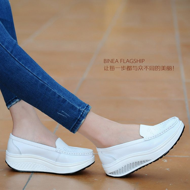 ZHENZHOU chaussures pour femmes 2019 été en cuir véritable découpe respirant swing chaussures blanc infirmière chaussures rehaussent mère chaussures