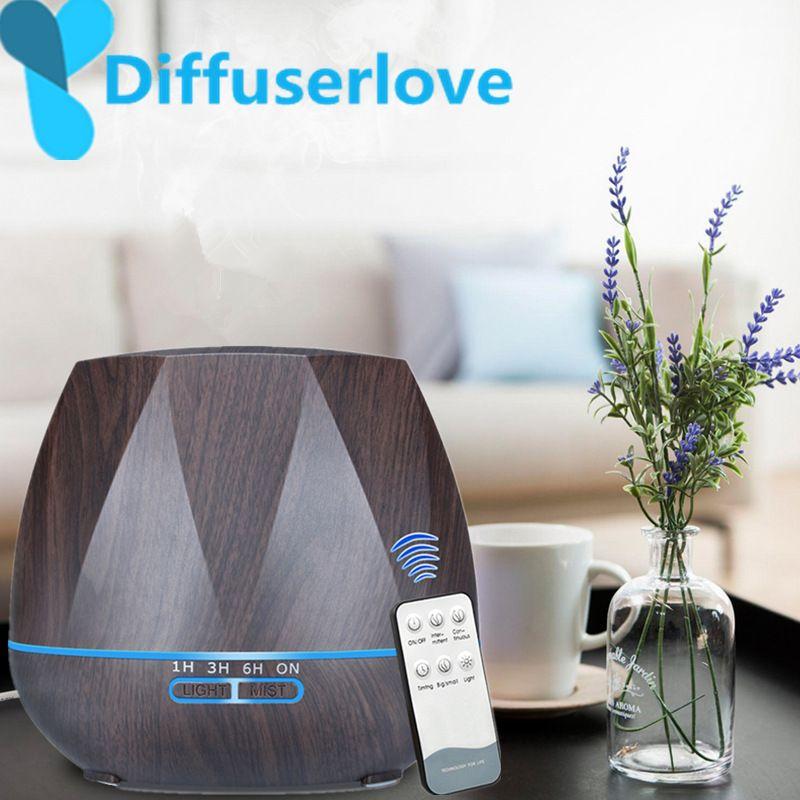 Diffuserlove 500ML Remote Control Air Humidifier Essential Oil Diffuser Humidificador Mist Maker LED Aroma Diffusor Aromatherapy