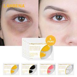 Lanbena Emas 24 K Masker Mata Collagen Eye Patch Gelap Lingkaran Bengkak Mata Tas Anti-Aging Kerut Firming Kulit perawatan 10 Pcs = 5 Pasang
