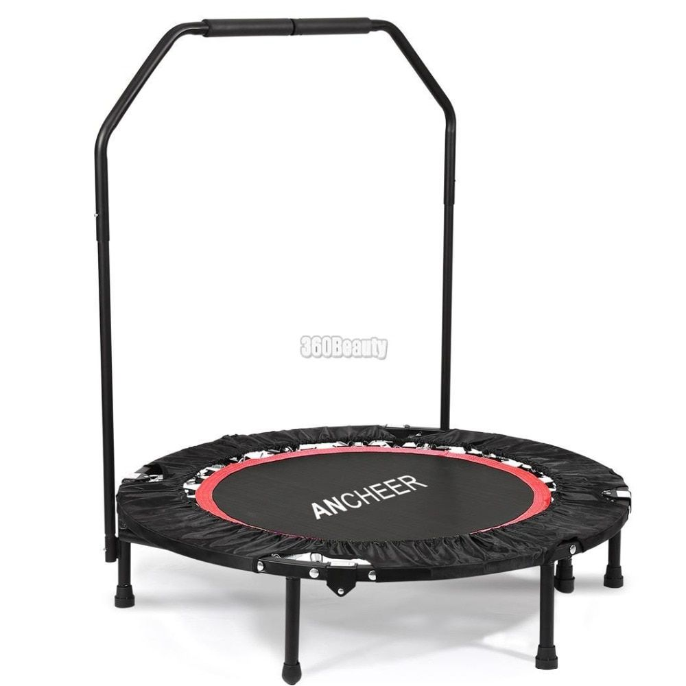 ANCHEER 40 Inch Mini Folding Trampoline Fitness Workout Rebounder Children Trampoline for kids with Adjustable Handrail Angle