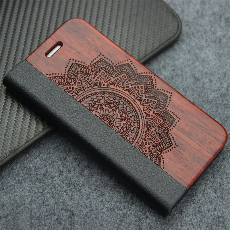 <font><b>Retro</b></font> Luxury Leather Flip Case for Samsung Galaxy S8 S7 edge S9 Plus Nature Real Wood Phone Cover with Stand for iPhone 7 8 Plus