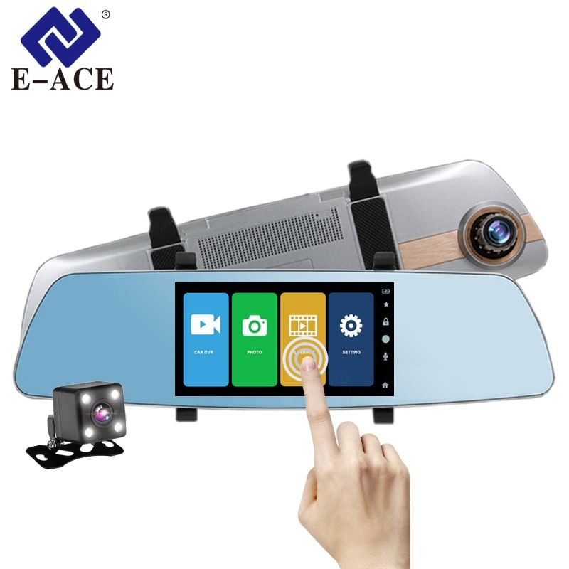 E-ACE Car Dvr Full HD 1080P 5 Inch Touch Screen Video Recorder Night Vision Camera Dual Lens Rearview Mirror Auto Dash Cam