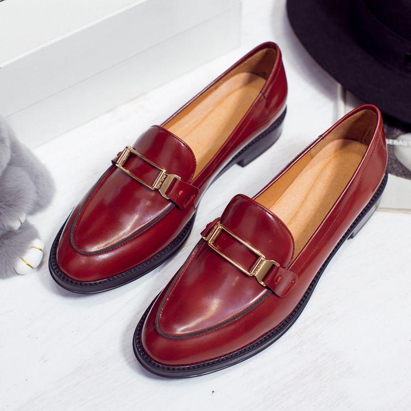 De Calidad superior Zapatos de Los Planos Mujeres Resbalón Del Cuero Genuino Oxford zapatos Para Mujer de Estilo Italiano Marca de Las Mujeres de Los Holgazanes Mujeres Vestido pisos