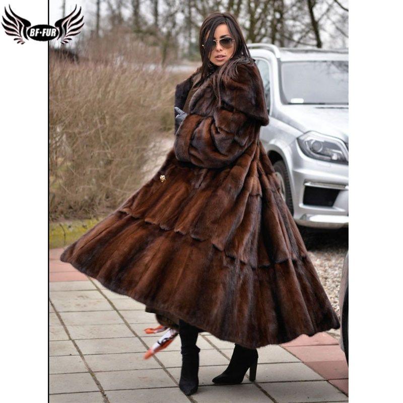 BFFUR Winter Frau Mäntel 2018 Echten Pelz Mäntel Frauen Real Nerz Mantel Plus Größe Voll Pelt drehen-unten kragen Mode Lange Rock