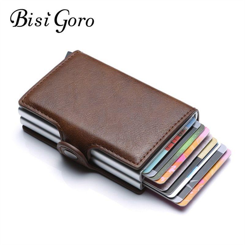 BISI GORO Business portefeuille porte-cartes de crédit unisexe métal blocage RFID portefeuille étui pour carte d'identité en Aluminium sac à main de voyage