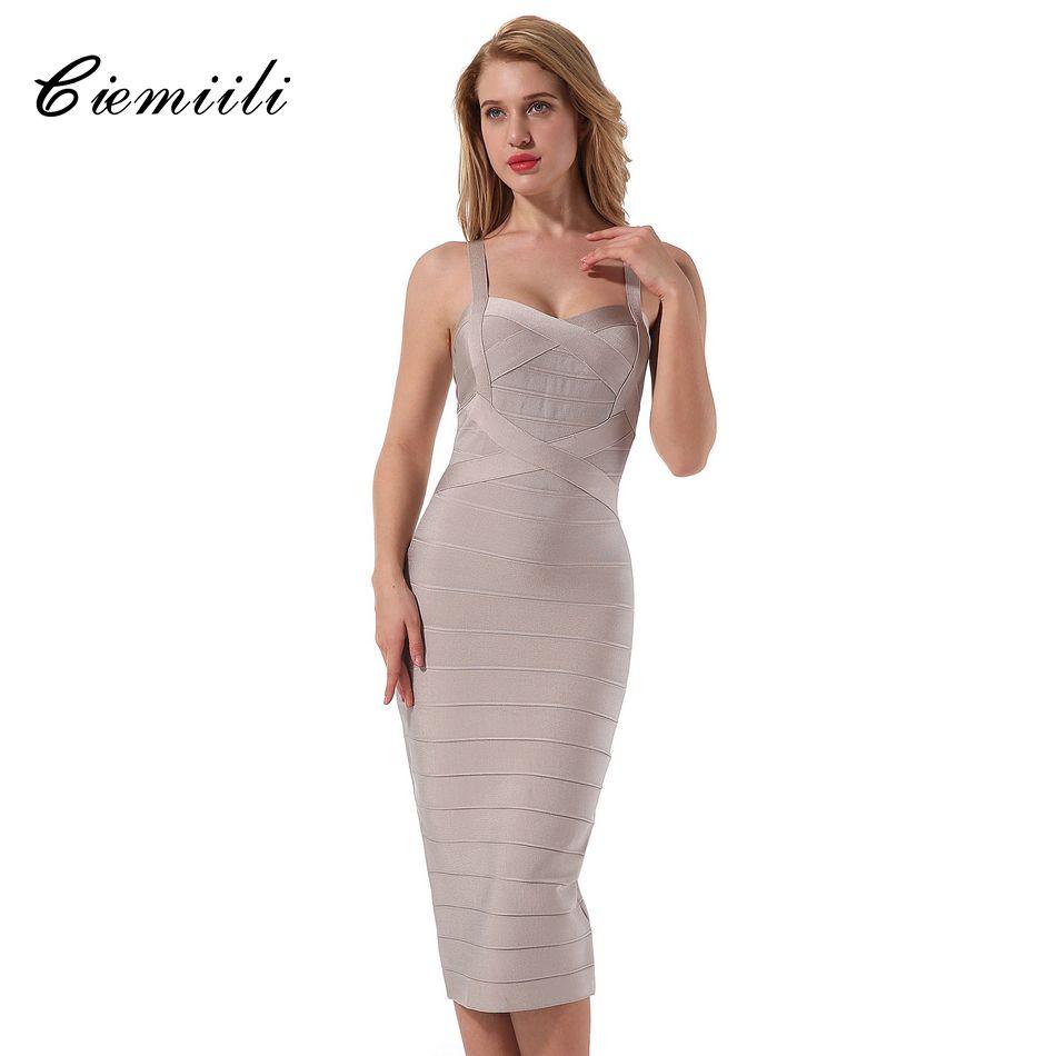 CIEMIILI 2018 nouvelle robe à bretelles Spaghetti femmes Cocktail été sans manches moulante mi-mollet robe rayée bal de promo robe Bandage