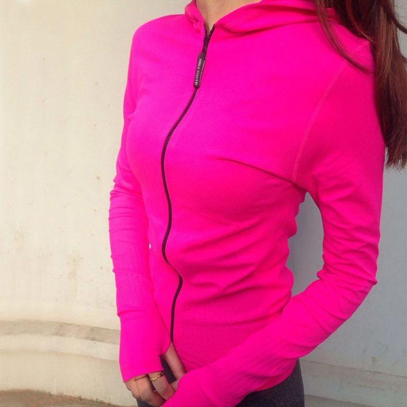 women sports suit zipper hight elastic hoody running joggging fitness yoga sports sweatshirts Long Sleeve quick dry