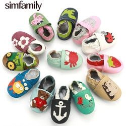 [Simfamily] Dérapage-Preuve Bébé Chaussures Doux Véritable En Cuir Bébé Garçons Filles Infantile Chaussures Pantoufles 0-6 6-12 12-18 18-24 Premiers Marcheurs