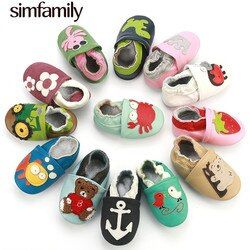 [simfamily]Skid-Proof Baby Shoes Soft Genuine Leather Baby Boys Girls Infant Shoes Slippers 0-6 6-12 12-18 18-24 First Walkers