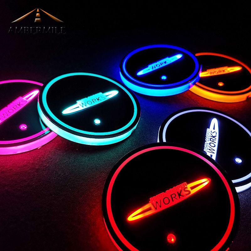 AMBERMILE LED Auto Untersetzer Licht Sensor JCW Tasse Matten Pads für Mini Cooper JCW F54 F56 Countryman R60 R61 R56 r55 F55 Zubehör