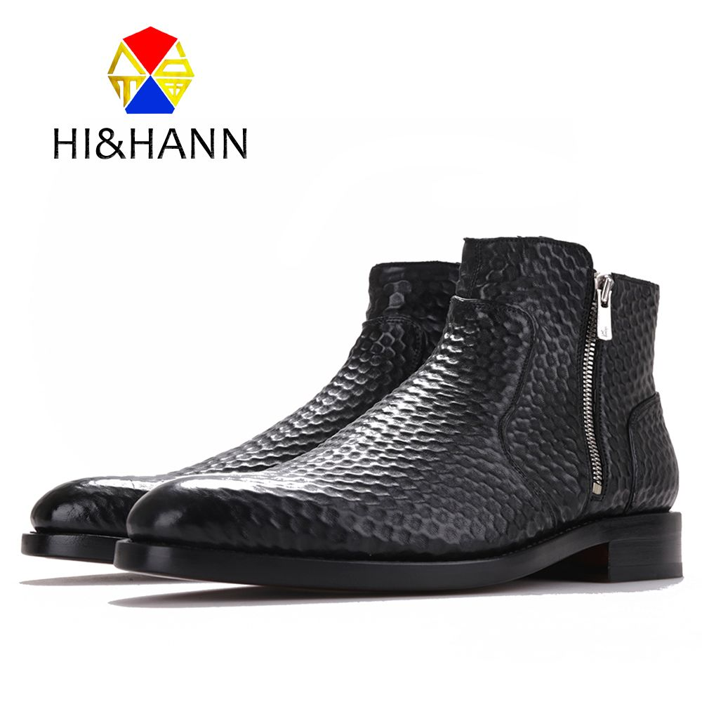 Estampado geométrico de moda Botas de Cuero Genuino Negro Botas de Cremallera Tobillo hombres Botas Tamaño EE.UU. 6-13 Envío gratis
