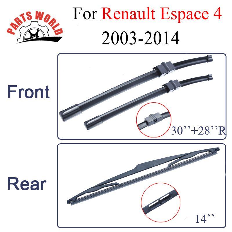 Balais d'essuie-glace pour Renault Espace 4 2003-2014 Combo pare-brise en caoutchouc avant et arrière pare-brise Auto voiture accessoires