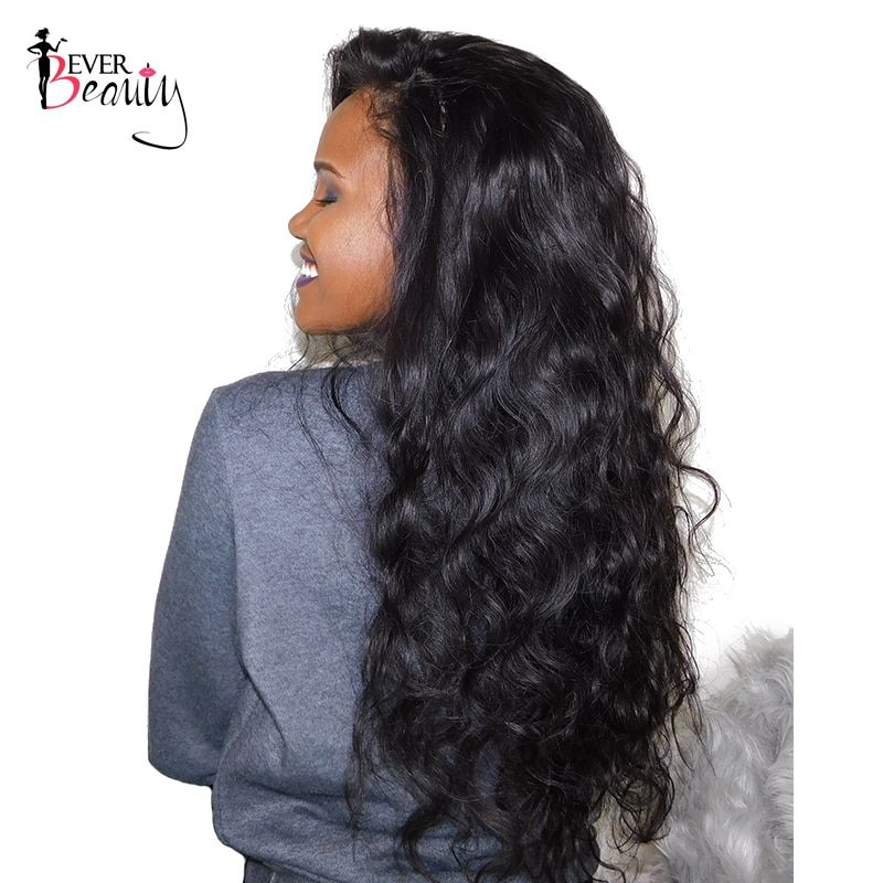 250% Density Lace Front Human Hair Wigs For <font><b>Women</b></font> Natural Black Color Brazilian Lace Front Body Wave Wig Remy Hair Ever Beauty