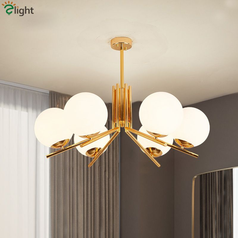 Modern Nordic Globes LED Chandelier Plate Gold Living Room Chandelier Lighting Lustre E27 Pendant Chandelier Indoor Lighting