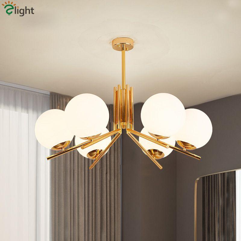 Modern Nordic Globes LED Chandelier Plate Gold Living Room Chandelier Lighting Lustre E27 Pendant Chandelier Indoor Lighting