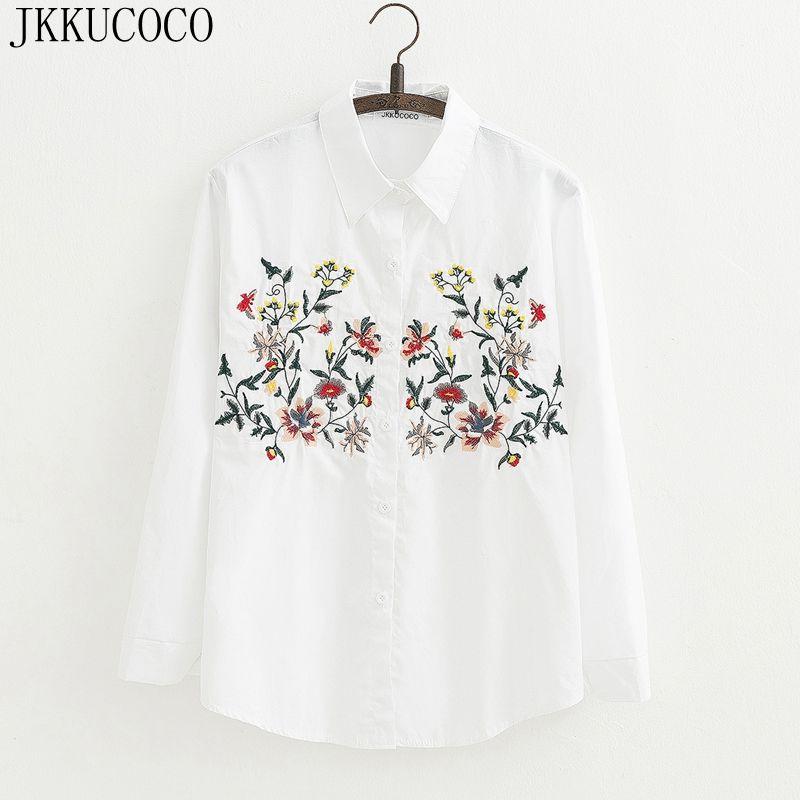 JKKUCOCO Femmes plein coton floral broderie blanc longue blouse surdimensionné à manches longues lâche chemise bureau porter casual tops blouse