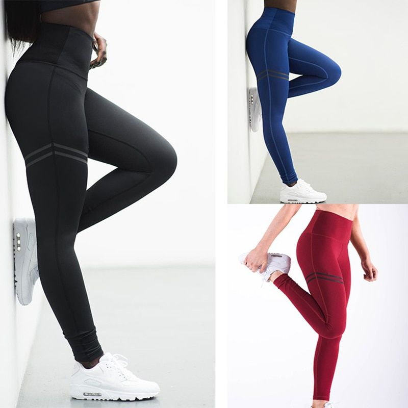 Leggings de Sport de remise en forme haute élastique collants Slim vêtements de Sport de course pantalons de Sport femmes pantalons de Yoga à séchage rapide pantalons d'entraînement