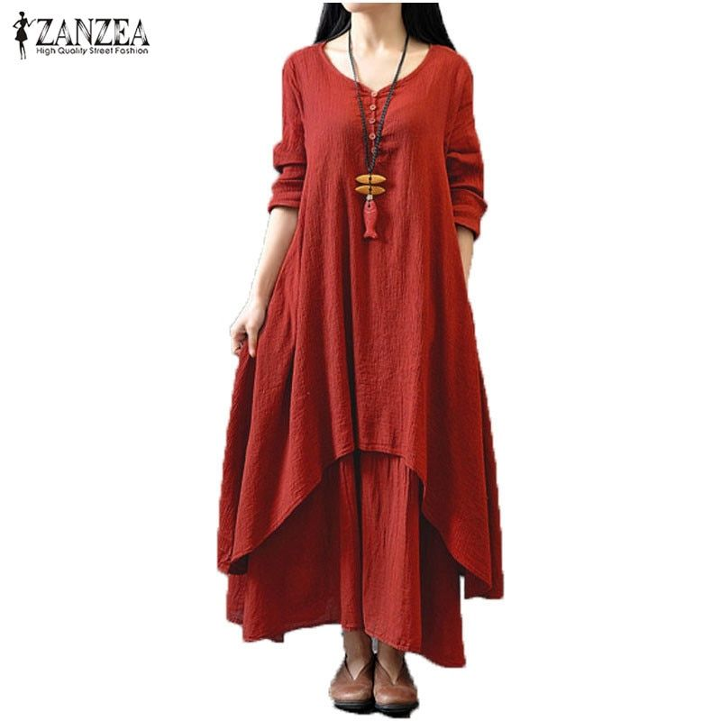 2017 ZANZEA Women Casual Solid Spring Dress Loose Full Sleeve V Neck Button Dress Cotton Linen Boho Long Maxi Dress Vestidos