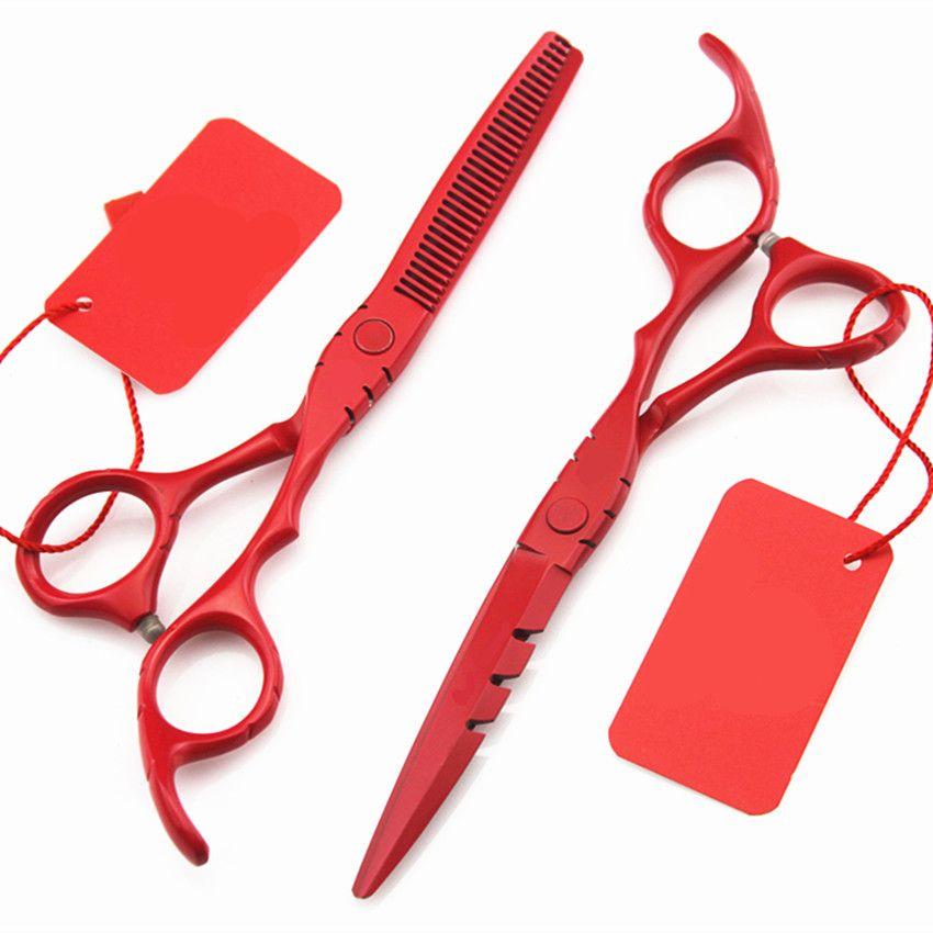 Professionnel 6 & 5.5 pouces japon 440c ciseaux à cheveux ensemble amincissant barbier coupe cheveux ciseaux outils ciseaux de coiffure ciseaux