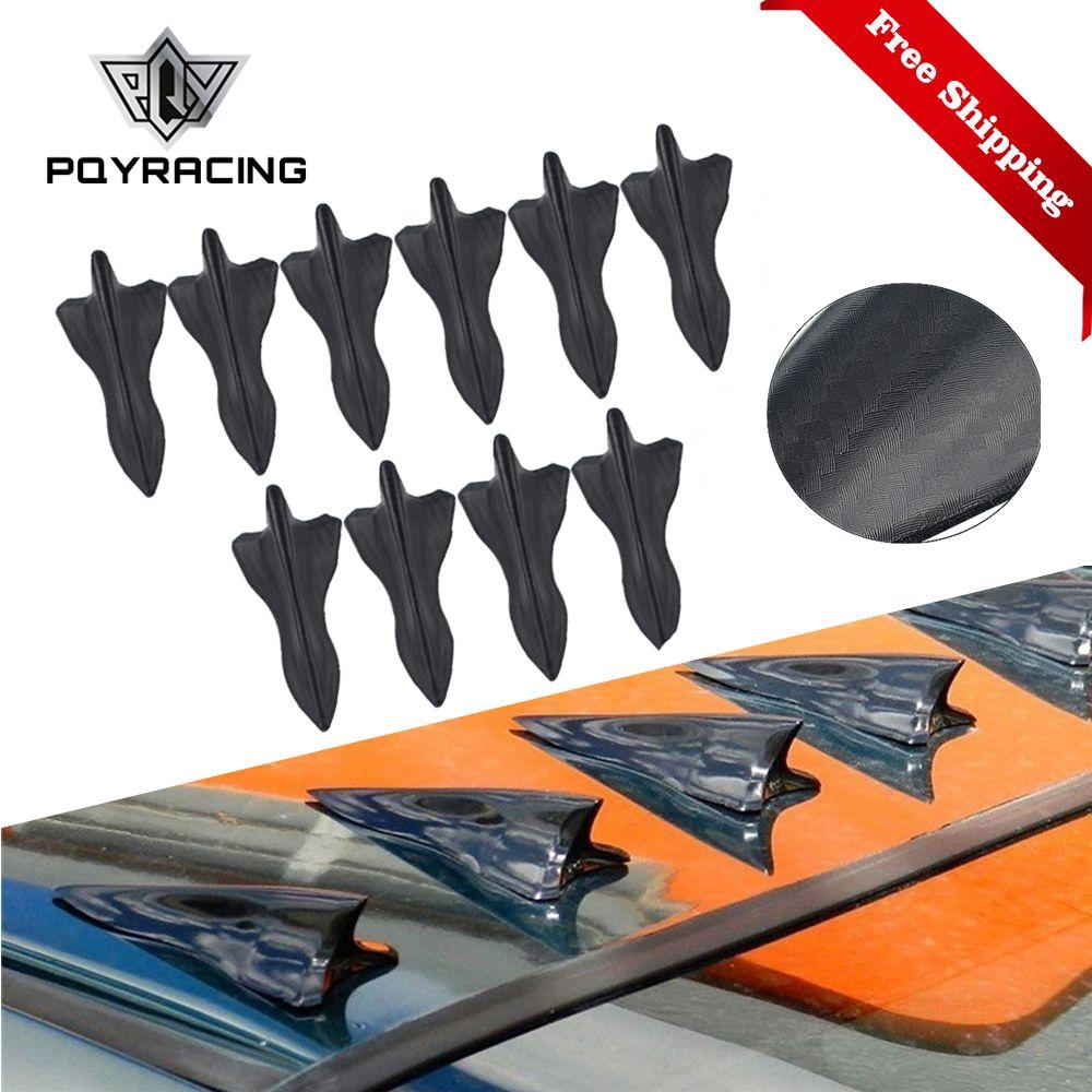 10PCS carbon fiber design-looking color VORTEX GENERATOR FLEXIBLE PP EVO-STYLE ROOF SHARK FINS SPOILER WING KIT UNIVERSAL