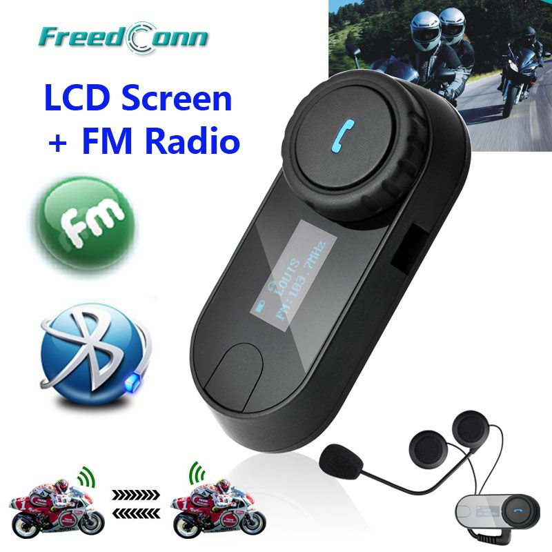 New Updated Version!! Motorcycle Motorbike BT Bluetooth Multi Interphone Headset Helmet Intercom T-COM LCD Screen FM Radio