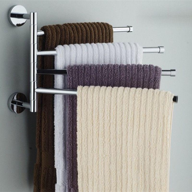 Porte-serviettes en acier inoxydable porte-serviettes rotatif salle de bains cuisine porte-serviettes mural poli support étagères accessoire matériel