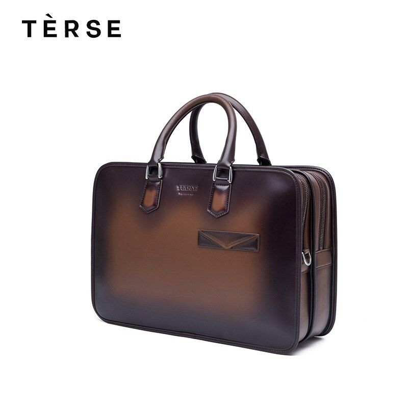 TERSE 2018 New Handbags Genuine Leather Men`s Laptop Handmade Technology Bag Luxury With Large Capacity Customize Logo 9661 Hot