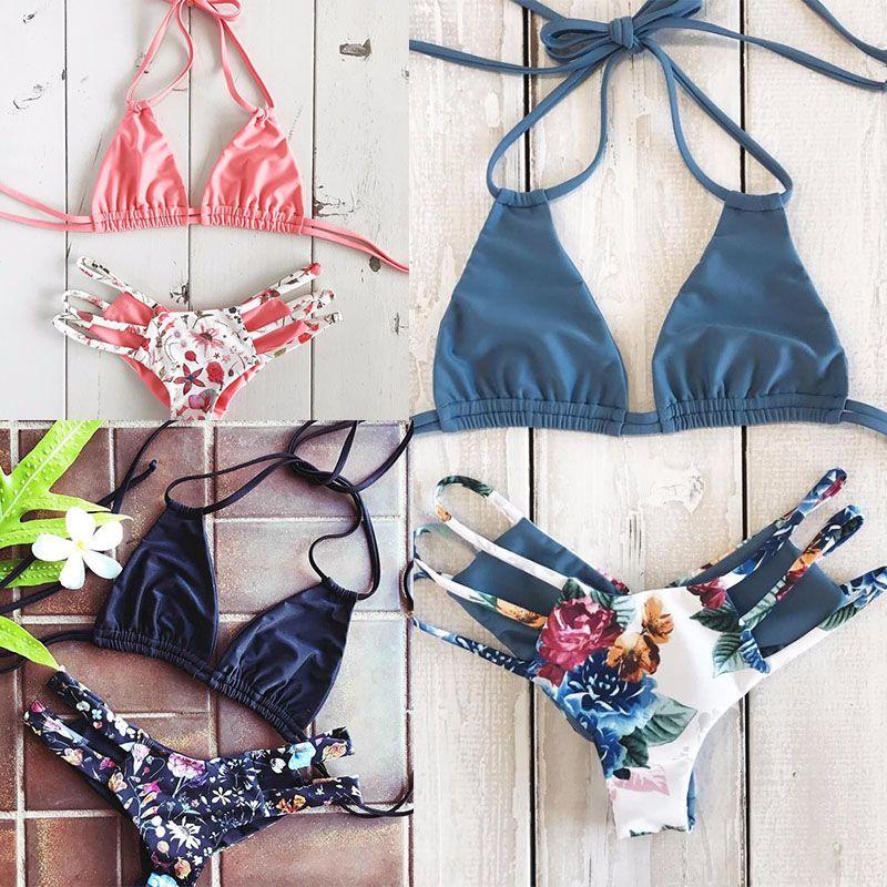 2018 Sexy Bikini Swimwear Women Push Up Swimsuit Bandage Bikini Set Brazilian Summer <font><b>Beach</b></font> Bathing Suits female Biquini Print