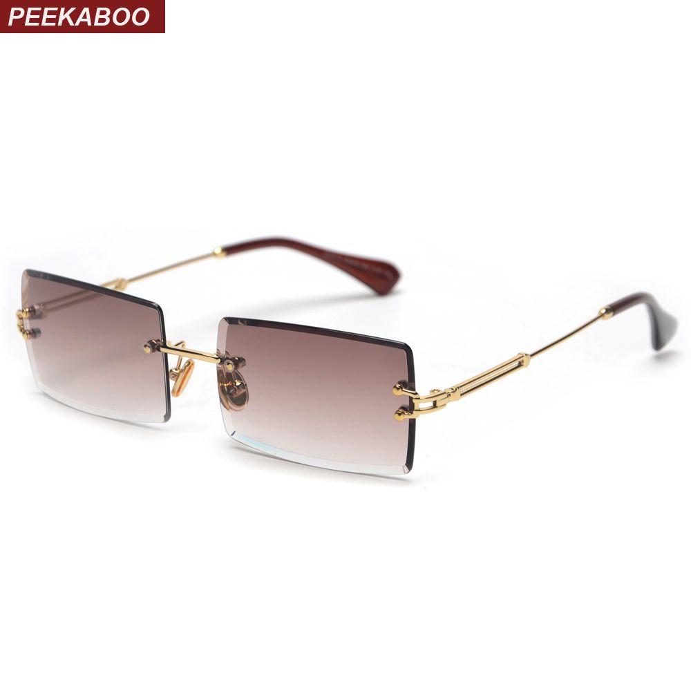 Peekaboo petit rectangle lunettes de soleil femmes sans monture carré lunettes de soleil pour les femmes 2019 été style femme uv400 vert marron