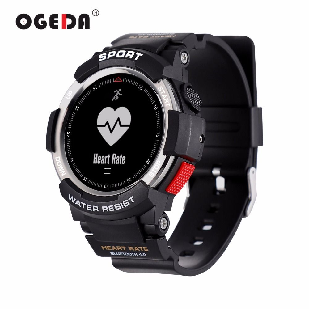 OGEDA Men Watch Bluetooth F6 Smartwatch IP68 Waterproof Heart Rate Monitor Fitness Tracker Smart watch with Multi Sport Mode New