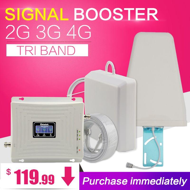 HOT GSM 900 1800 WCDMA 2100 Tri-band Booster 2G 3G 4G LTE 1800 70dB Handy Signalverstärker Handy Repeater für europa