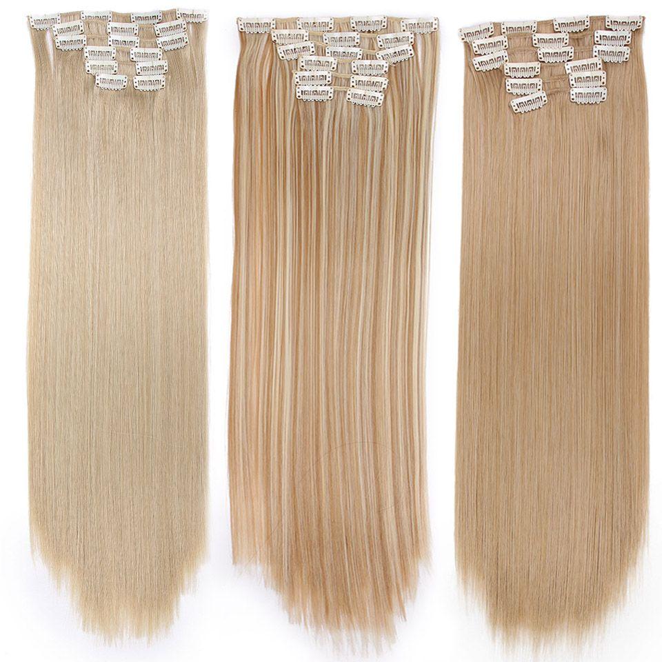 Longs cheveux blonds synthétiques Clips dans les Extensions de cheveux droit 22