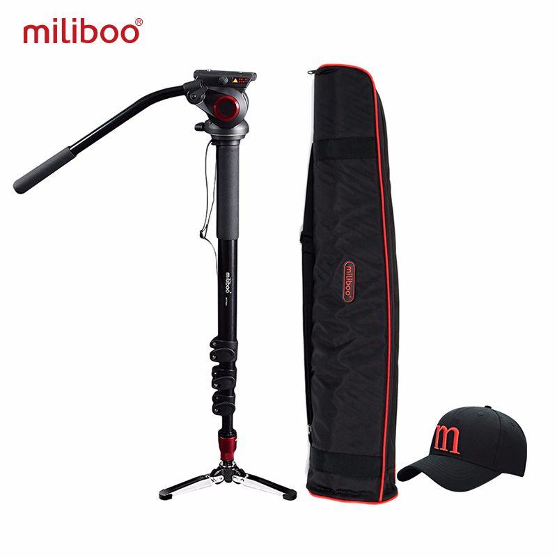 Miliboo professionnel monopode aluminium Portable caméra support hydraulique tête trépied support Unipod avec 1/4, 3/8 vis voyage
