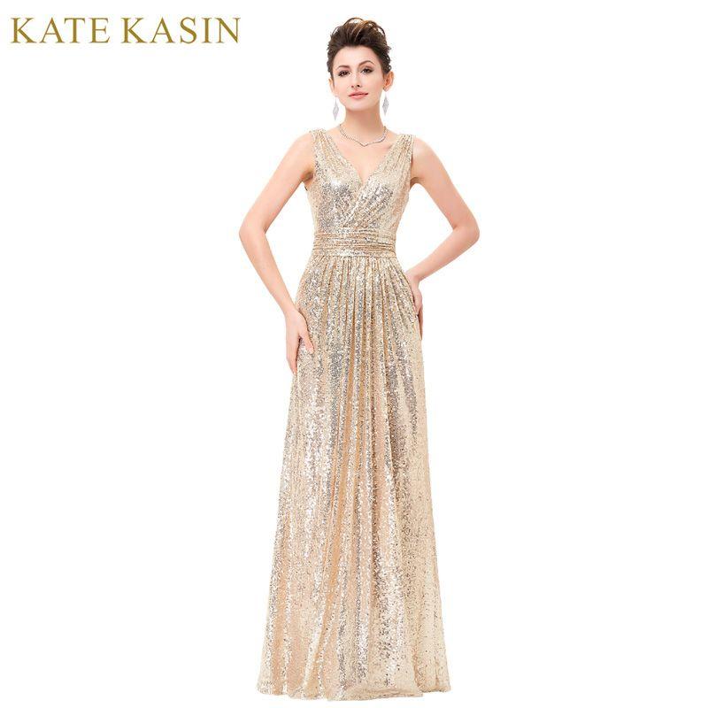 Luxe Or Argent Longue Sequin Robe de Soirée Rose Double V Cou Pas Cher Robes De Soirée Sans Manches Prom Party Formelle Robes 0199