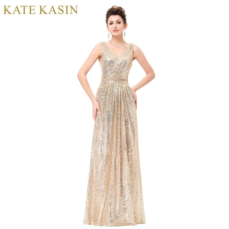 Luxury Gold Silver Long Sequin Evening Dress Pink Double V Neck Cheap Evening Gowns Sleeveless Prom <font><b>Party</b></font> Formal Dresses 0199
