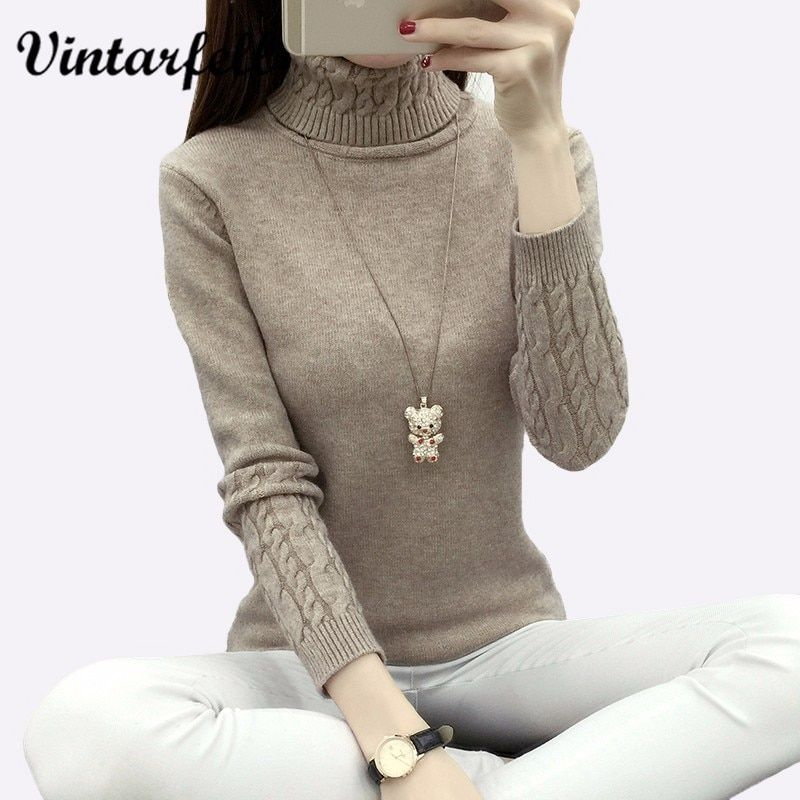 Knitting Sweater And Pullover For Women 2018 Fall Winter Turtleneck Tricots Tops Mujer Knitwear Female Jumper Knitted Coat <font><b>Femme</b></font>