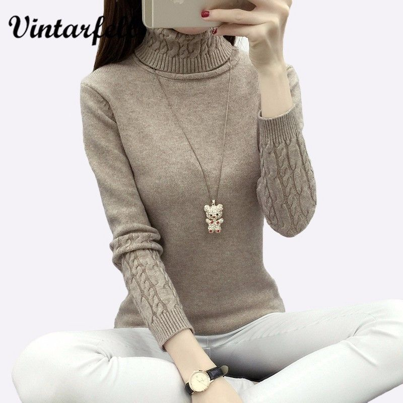 Knitting Sweater And Pullover For Women 2018 Fall Winter Turtleneck Tricots Tops <font><b>Mujer</b></font> Knitwear Female Jumper Knitted Coat Femme
